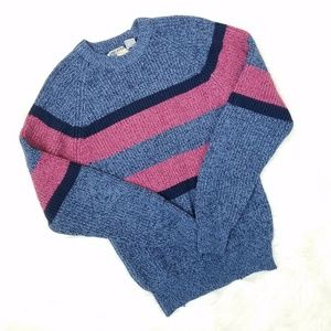Vintage 90's Pink & Blue Stripe Marbled Sweater